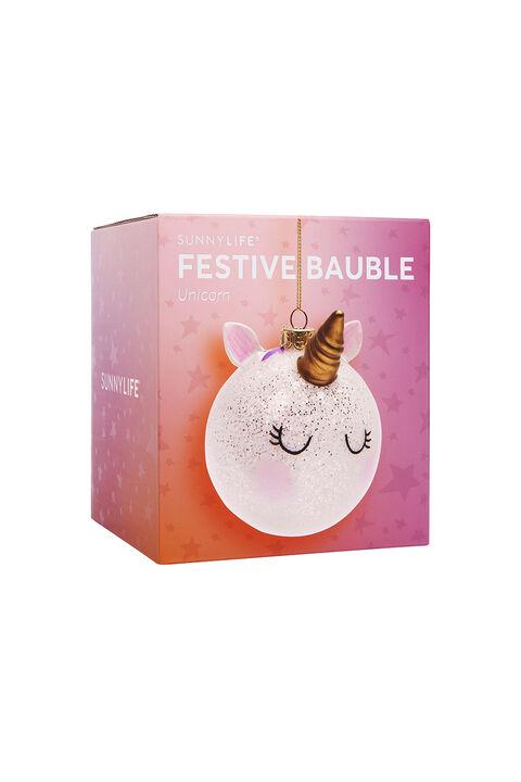FESTIVE BAUBLE – UNICORN in colour BRIGHT WHITE