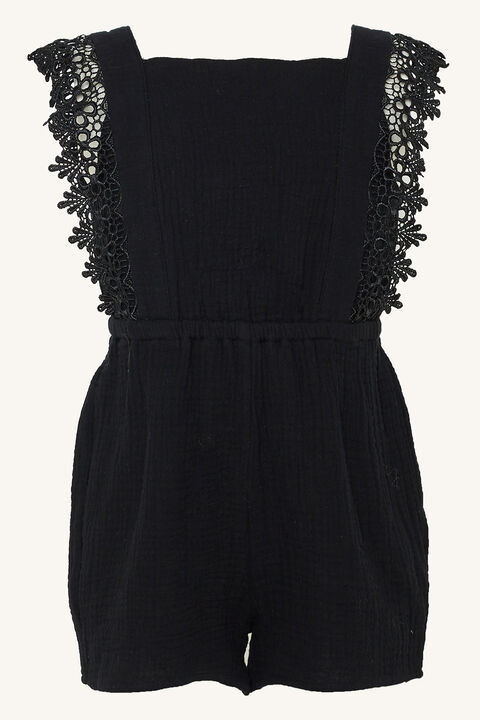 BELLE TRIM PLAYSUIT in colour JET BLACK
