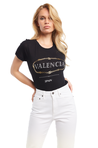 VALENCIA FOIL TEE in colour CAVIAR