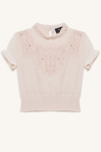 PIA EMBELLISHED TOP in colour LOTUS