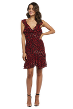 LEOPARD FRILL DRESS in colour CHILI PEPPER