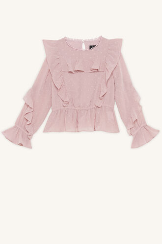 ABBIE RUFFLE BLOUSE in colour GRAY LILAC