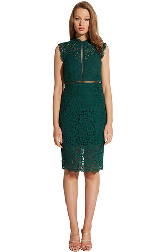 LACE PANEL DRESS in colour HUNTER GREEN