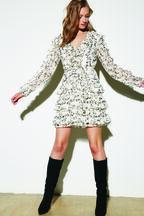 ALESSIA FRILL DRESS in colour CLOUD DANCER