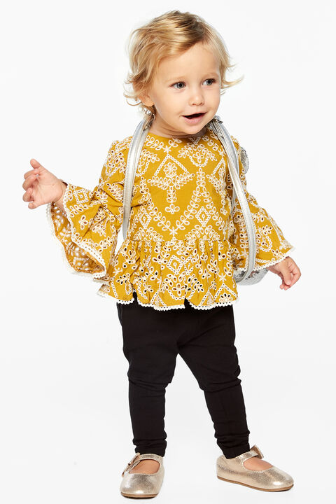 KEIRA BRODERIE TOP in colour MISTED YELLOW