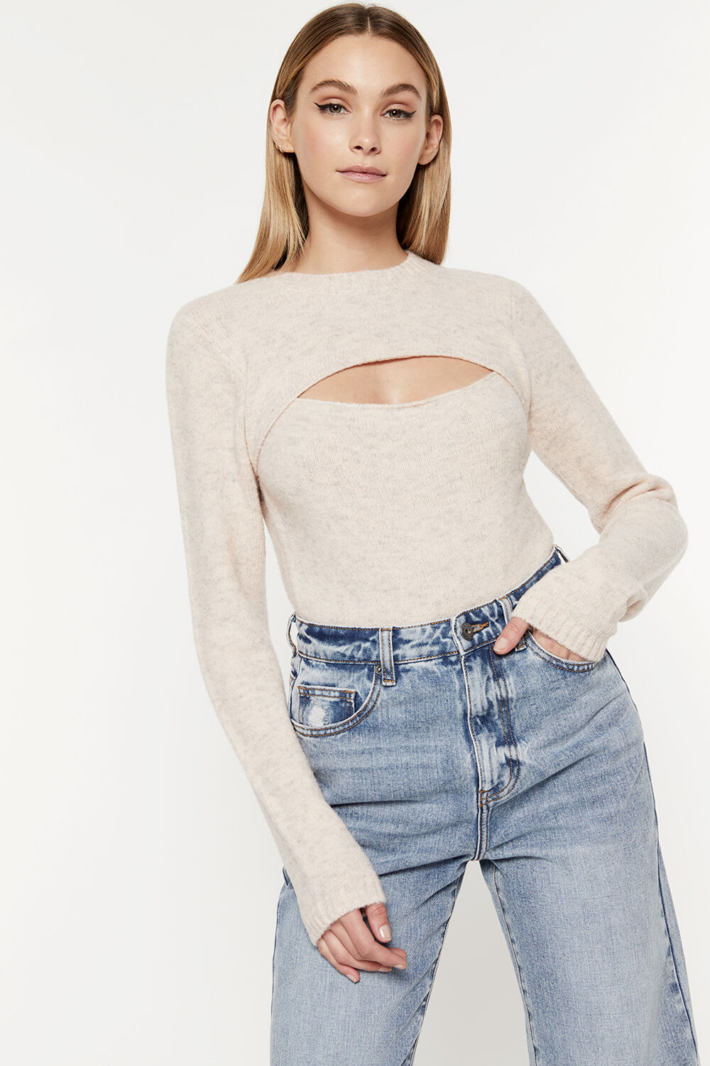 EVIE KNIT TOP in colour CREAM PINK