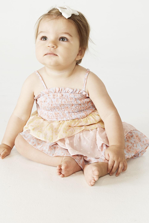Baby girl MINKA TIER DRESS in colour WAN BLUE