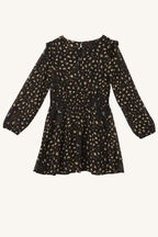 CICELY SHIRRED DRESS in colour JET BLACK