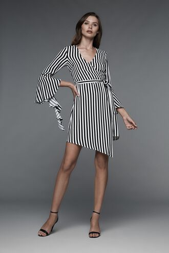 STRIPE WRAP DRESS in colour CAVIAR