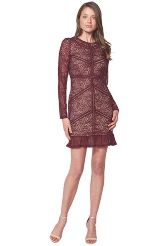 SASHA LACE DRESS in colour WINETASTING