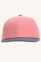 STRIPE TODDLER CAP in colour RED BUD