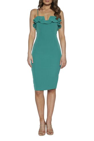 ROSSA FRILL DRESS in colour GREENLAKE
