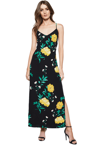 STRAPPY FLORAL DRESS in colour CAVIAR