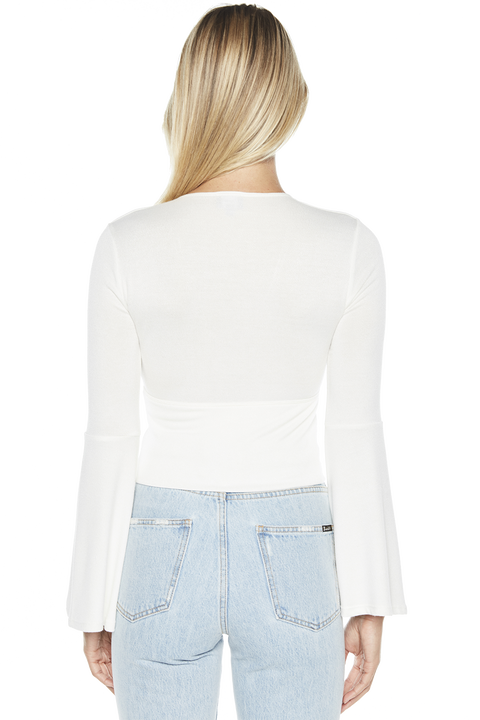 GEMMA PLUNGE TOP in colour CLOUD DANCER
