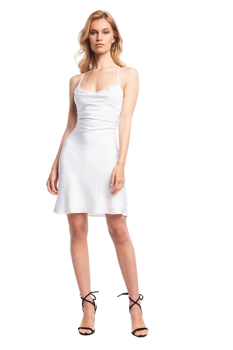 SLIP STRAP DRESS in colour CLOUD DANCER