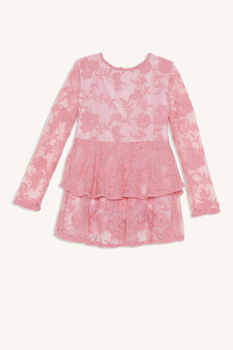 EMBER LACE DRESS in colour MORNING GLORY