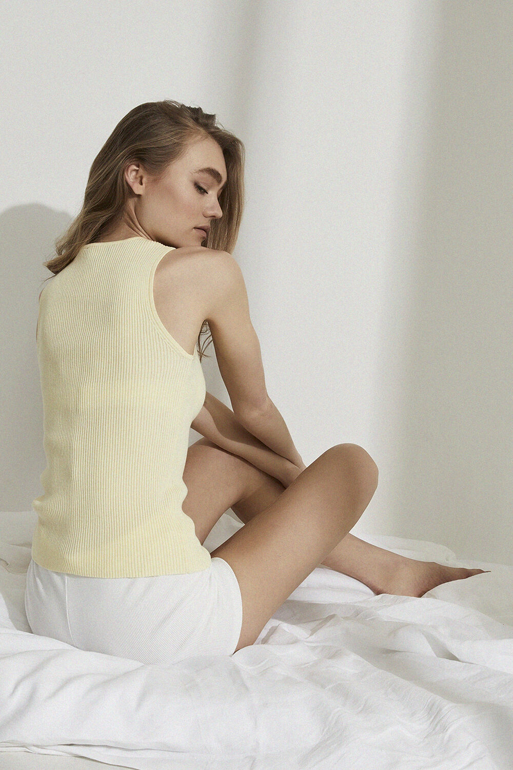 BUTTON KNIT TANK in colour TRANSPARENT YELLOW