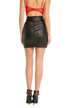 MINI LEATHER SKIRT in colour CAVIAR