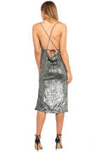 SEQUIN SLIP DRESS in colour GLACIER GRAY