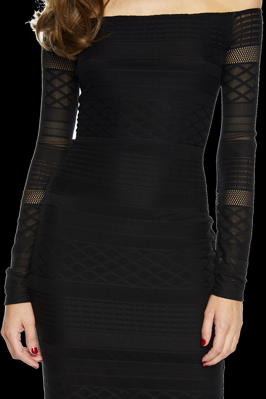 CHEVRON LACE DRESS in colour CAVIAR