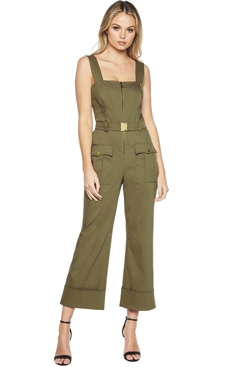 BUCKLE JUMPSUIT in colour BURNT OLIVE