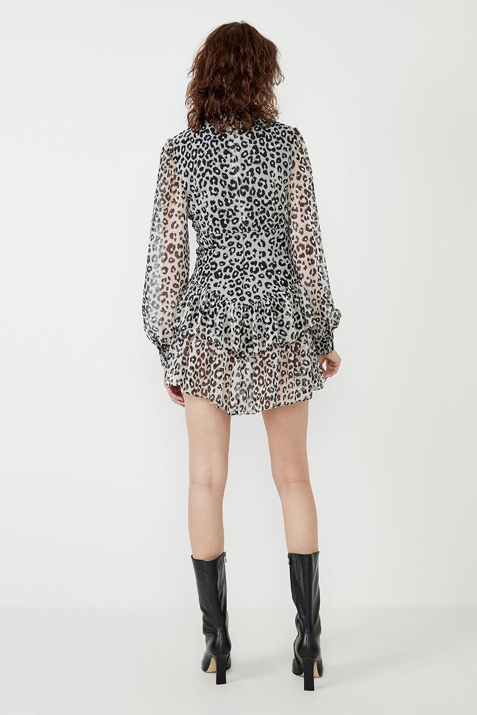 GEORGETTE LEOPARD PRINT DRESS  in colour POSEIDON