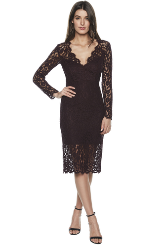 MIDNIGHT LACE DRESS. in colour WINETASTING