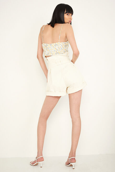PAPERBAG DENIM SHORT in colour SNOW WHITE
