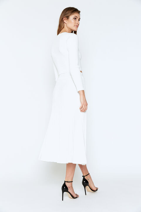 RIBBED BUTTON SKIRT in colour CLOUD DANCER