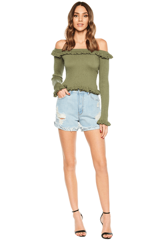 KIM OFF SHOULDER KNIT in colour DEEP LICHEN GREEN