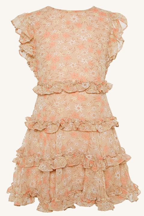 MARYAM FRILL DRESS in colour CREAM TAN