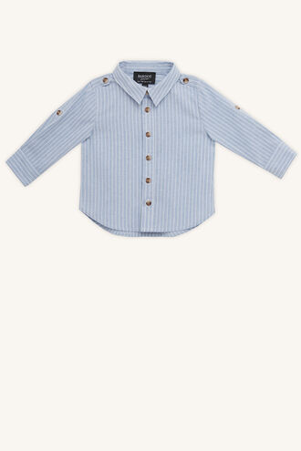 LINEN STRIPE SHIRT in colour SKYWAY