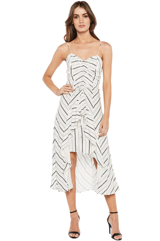WINONA STRIPE DRESS in colour CLOUD DANCER