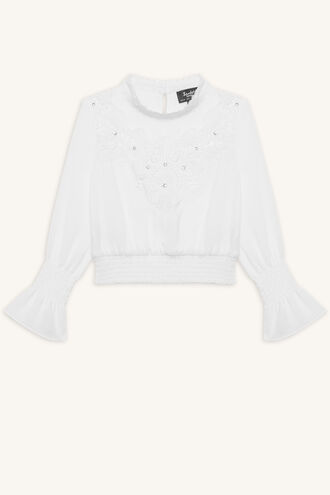 MAY EMBELLISHED TOP in colour CLOUD DANCER