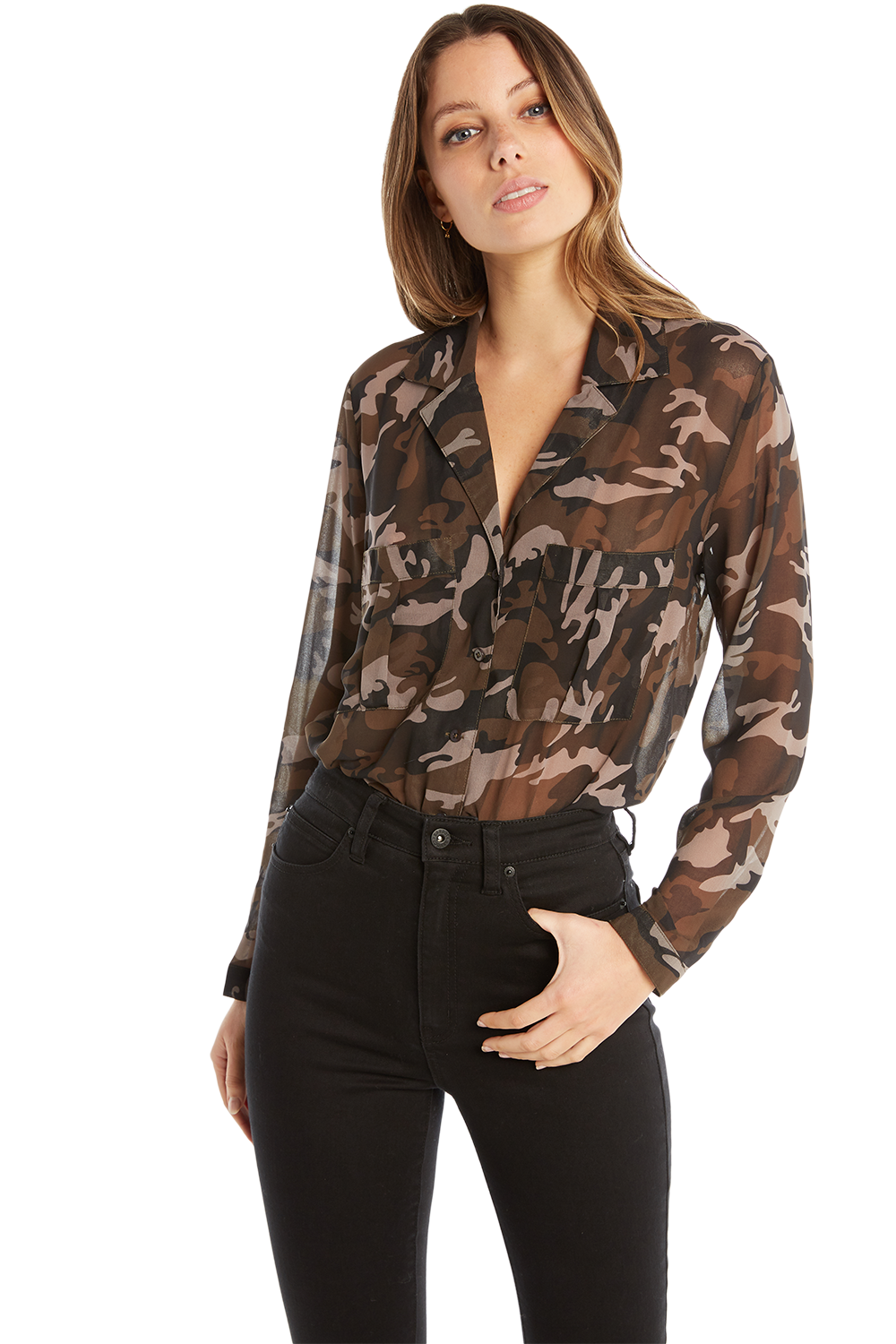 MILITARY BLOUSE in colour BURNT OLIVE