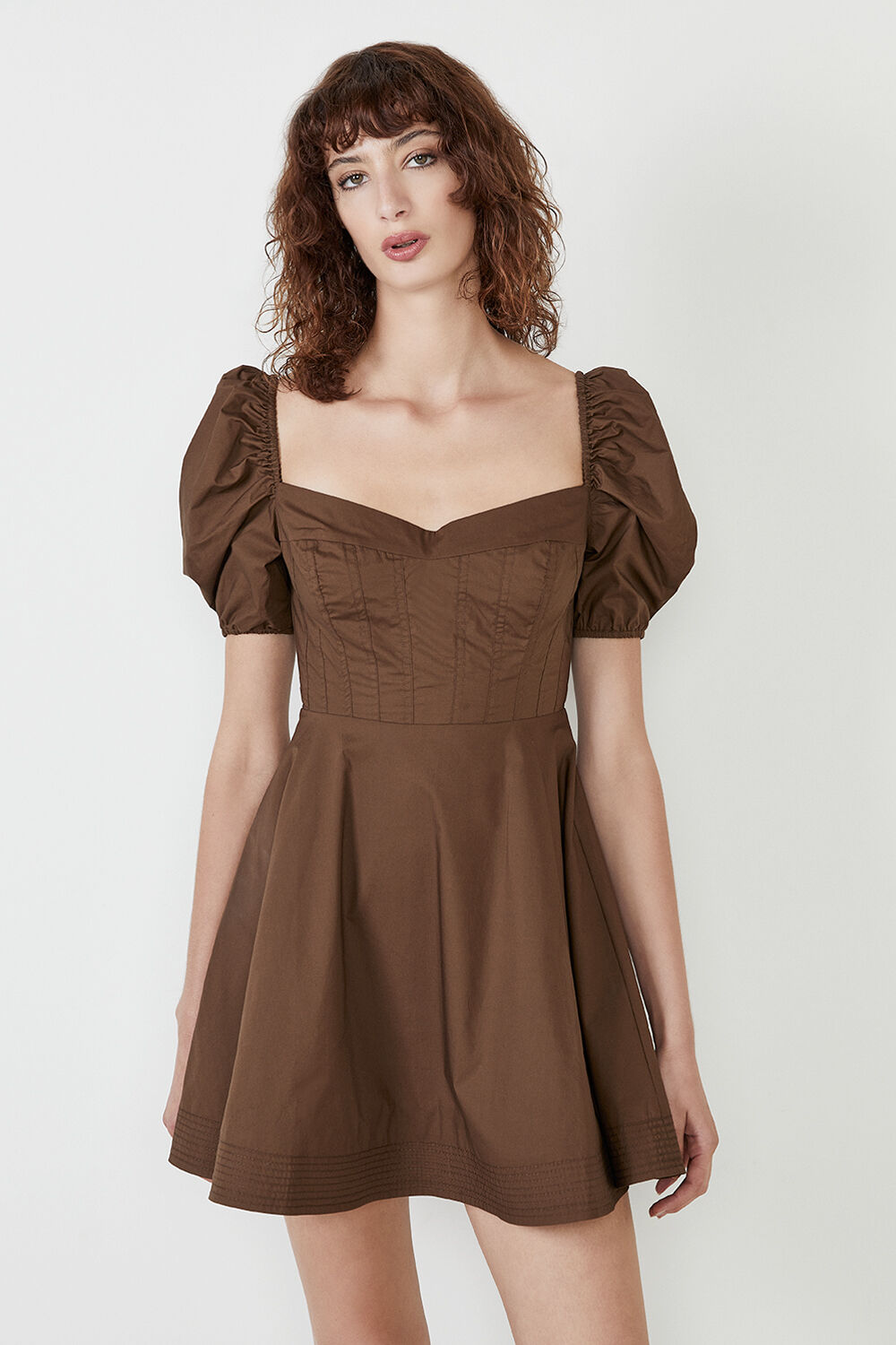 THE CORSET STAPLE DRESS in colour CHOCOLATE BROWN