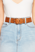 DOUBLE CIRCLE BELT in colour TAN