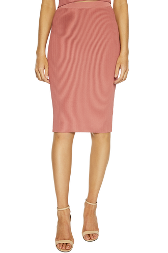 OTTOMAN KNIT SKIRT in colour MISTY ROSE