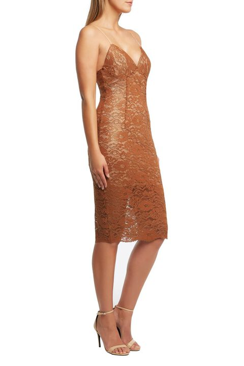 GOLDEN LACE DRESS in colour CHAMPAGNE BEIGE