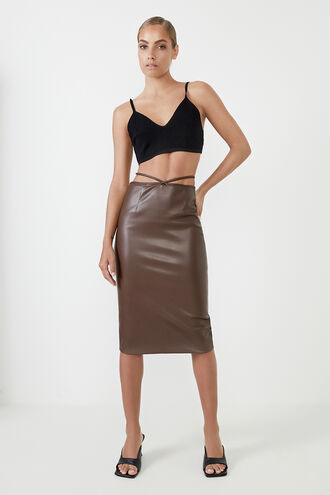 STRAPPY VEGAN LEATHER MIDI SK in colour CHOCOLATE BROWN