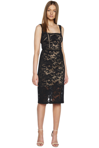 STELLA LACE DRESS in colour CAVIAR