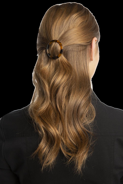 ROUND HAIR CLIP in colour TORTOISE SHELL