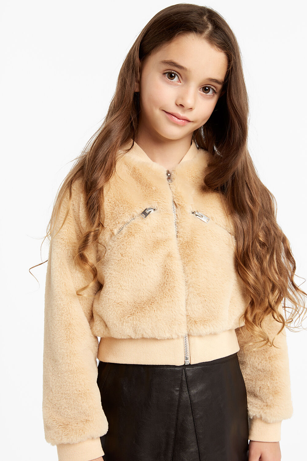 LEILA CROPPED FAUX FURRY BOMBER JACKET in colour NOUGAT