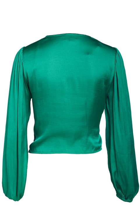 HALEY WRAP TOP in colour EMERALD