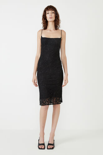 LACE BIAS MIDI DRESS in colour CAVIAR