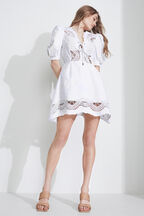LANI MINI EMBROIDERED DRESS  in colour CLOUD DANCER