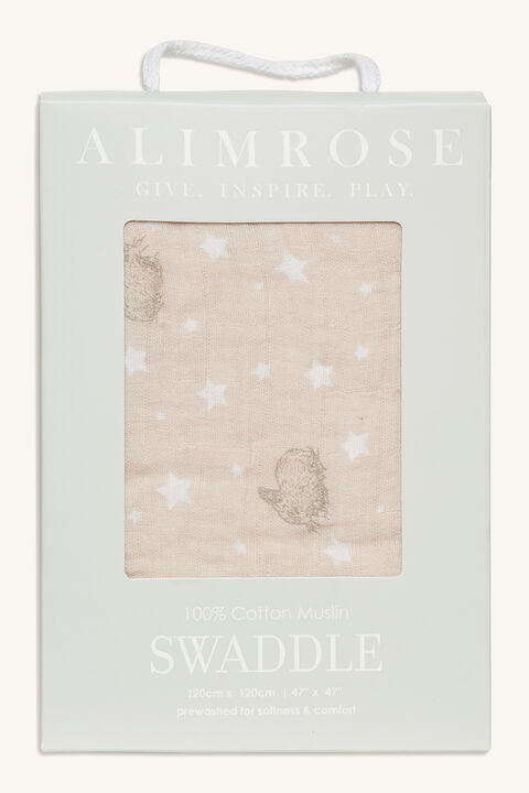 STARS & BUNNIES MUSLIN SWADDLE in colour PINK CARNATION