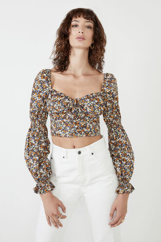 CLARISSA FLORAL TOP in colour ROSE TAN