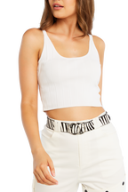 JAYDE KNIT CROP in colour CLOUD DANCER