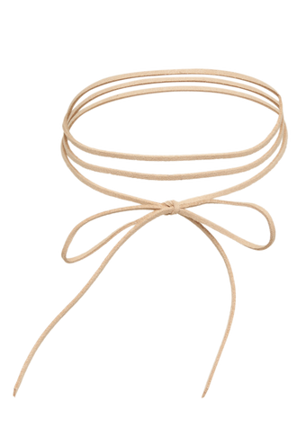 BOW LEATHERETTE LARIAT in colour TAN